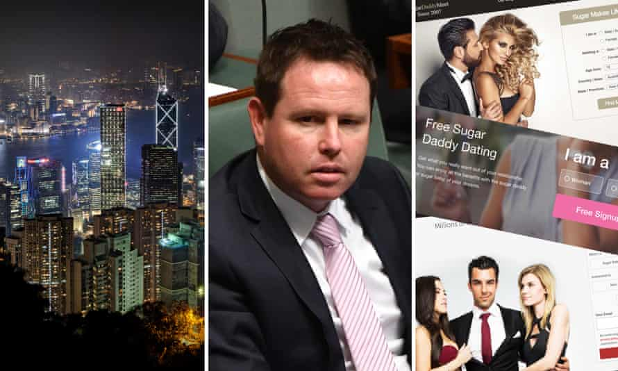 Composite of Hong Kong skyline by night, Nationals MP Andrew Broad, and a number of 'sugar daddy' dating websites.