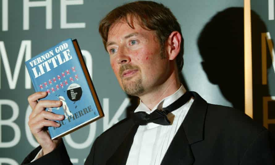 Australian born Peter Finlay, who writes under the name DBC Pierre, pictured after winning the 2003 Booker prize for fiction.