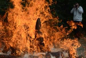 Up to 33kg of rhinoceros horns burn at a zoo in Dvůr Králové, Czech Republic.