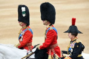 The Prince of Wales, the Duke of Cambridge and the Princess Royal arrive for the trooping the colour