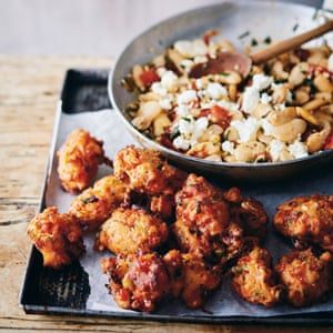 Tomato fritters with butter beans and feta. From 'New Kitchen Basics' by Claire Thomson. 20 best tomato recipes.