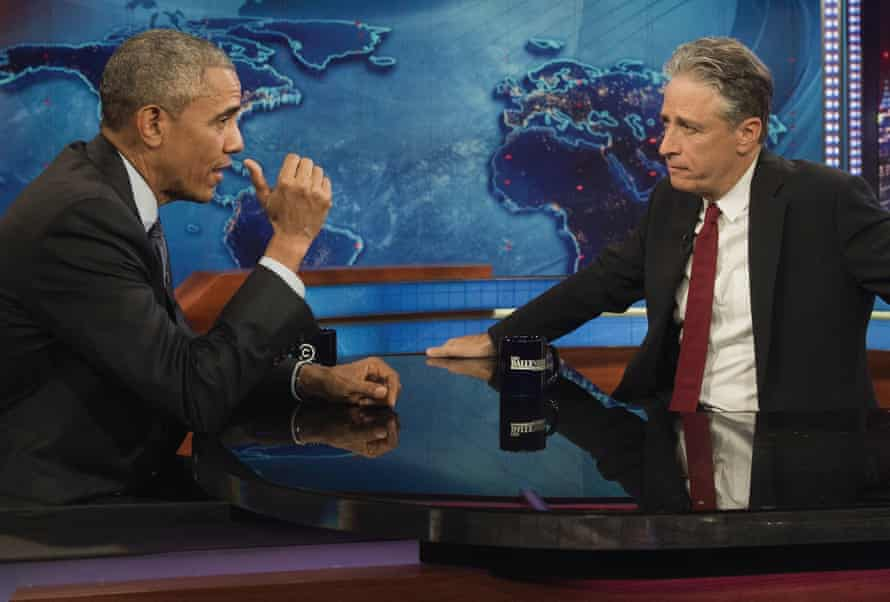 'I'm just a comedian' … Jon Stewart interviews President Barack Obama ion The Daily Show in 2015.