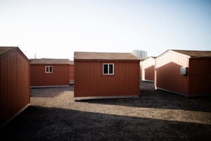 The tuff shed village in Oakland, California, is made up of tiny cabins.