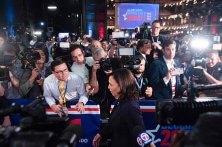 Democratic presidential hopeful US Senator for California Kamala Harris speaks to the press in the Spin Room after participating in the second Democratic primary debate of the 2020 presidential campaign season hosted by NBC News at the Adrienne Arsht Center for the Performing Arts in Miami, Florida, June 27, 2019.
