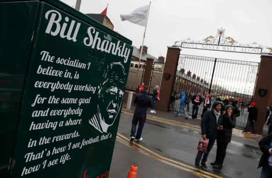 Fans gather round the Shankly Gates before the Liverpool v Huddersfield Premier League match at Anfield in April 2019.