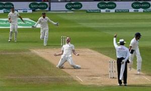 Ben Stokes celebrates after taking the wicket of Virat Kohli.