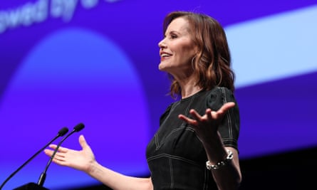 Geena Davis speaking at The Power of Inclusion Summit 2019 in Auckland, New Zealand.