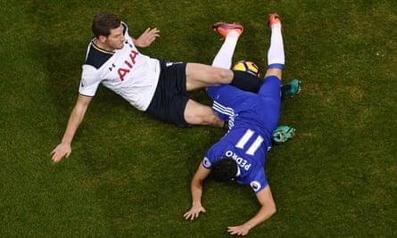Jan Vertonghen, left, challenges Pedro during Tottenham's 2-0 victory over Chelsea at White Hart Lane on Wednesday