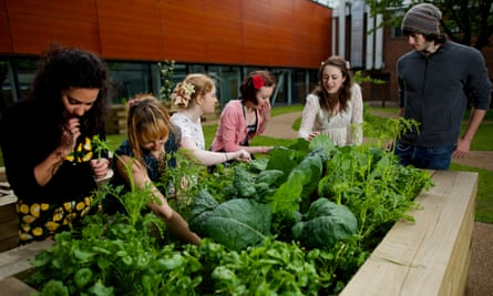 Sowing the seed: Students from the urban gardening society at Manchester Metropolitan University.
