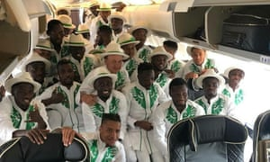 Flying colours: Nigeria football team ready to leave for Russia.