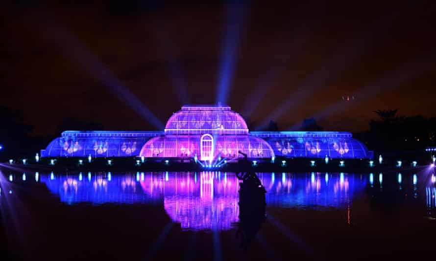 Christmas at Kew Gardens after dark with a festive display of illuminations