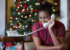 Michelle Obama on the phone to children as part of the annual Norad Tracks Santa programme