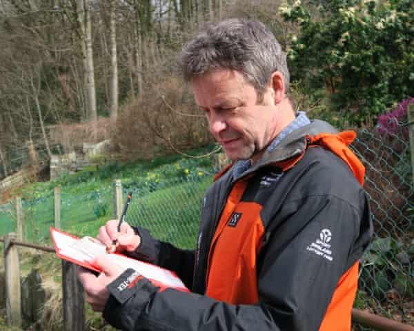 Cumbrian orienteer Martin 'Bilbo' Bagness mapping for an orienteering event