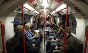 Tube passengers in a train carriage, London