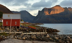 Scenic Skaland: a typical red village house.