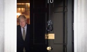 Boris Johnson leaving 10 Downing Street.