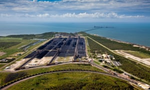 Abbot Point coal terminal, surrounded by wetlands and coral reefs