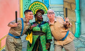 Michael Lin (Constable Ackee), Tony Whittle (Sergeant Dumplin) and Tameka Empson (The Empress) in Aladdin.