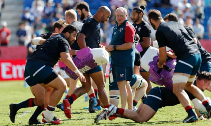 The USA head coach Gary Gold oversees warm-up for a game against Argentina in 2019