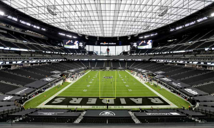 The Las Vegas Raiders played in front of empty seats in their new stadium due to the Covid-19 pandemic