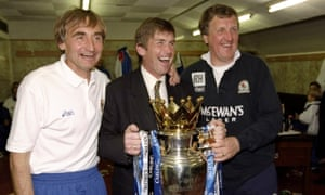 Kenny Dalglish with Tony Parkes, left, and Ray Harford after Blackburn won the title at Anfield in May 1995