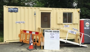 All at seaA polling station in a shipping container in Shelah Road, Halesowen, West Midlands