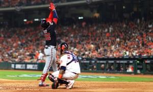 Washington's Juan Soto celebrates his solo home run in the fourth inning