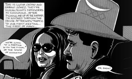 An excerpt from La Lucha: The Story of Lucha Castro and Human Rights in Mexico, a graphic novel for the Front Line Defenders series, published by Verso. Illustration: Jon Sack
