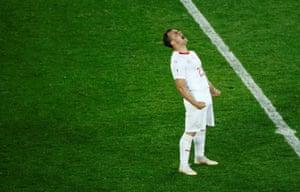 Xherdan Shaqiri celebrates Switzerland's win against Serbia.