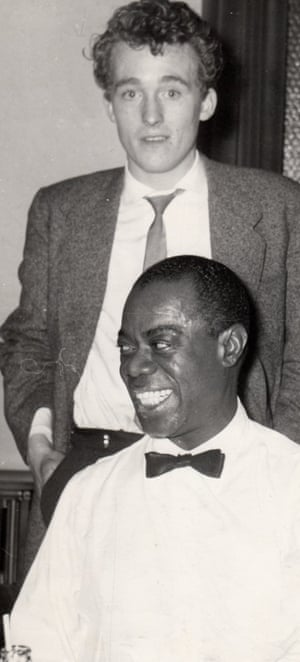 Terry Cryer with Louis Armstrong, caught on camera by the tuba player Bob Barclay in Liverpool, 1956.