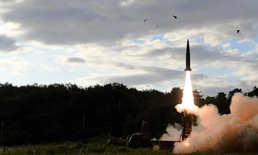 North Korea Fires Ballistic Missile Over JapanEAST COAST, SOUTH KOREA - SEPTEMBER 15: In this handout photo released by the South Korean Defense Ministry, South Korea's missile system firing Hyunmu-2 firing a missile into the East Sea during a drill aimed to counter North Korea's missile fires on September 15, 2017 in East Coast, South Korea. North Korea launched a ballistic missile over Japan just days after the U.N. Security Council adopted new sanctions against the regime over its sixth nuclear test on Sept. 3. (Photo by South Korean Defense Ministry via Getty Images)