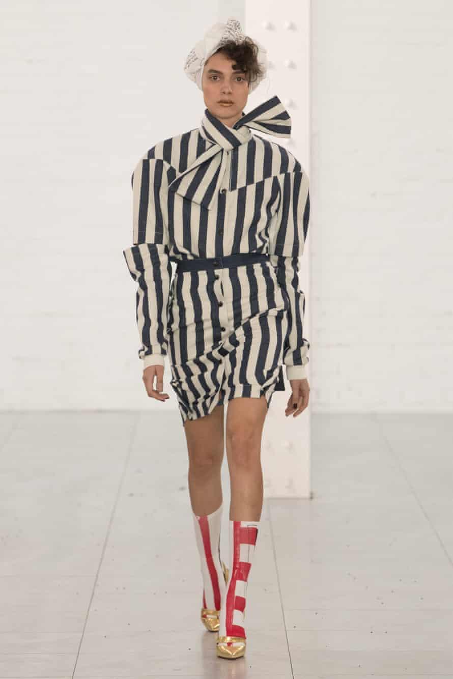 A model wearing Symonds Pearmain's clothes at London fashion week, autumn/winter 2018.