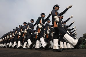 Paramilitary soldiers march during a Republic Day parade rehearsal in New Delhi, India