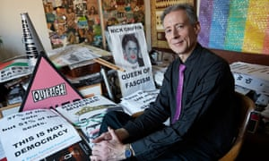 Peter Tatchell in his flat in south London
