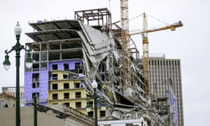 The Hard Rock hotel after the collapse in New Orleans