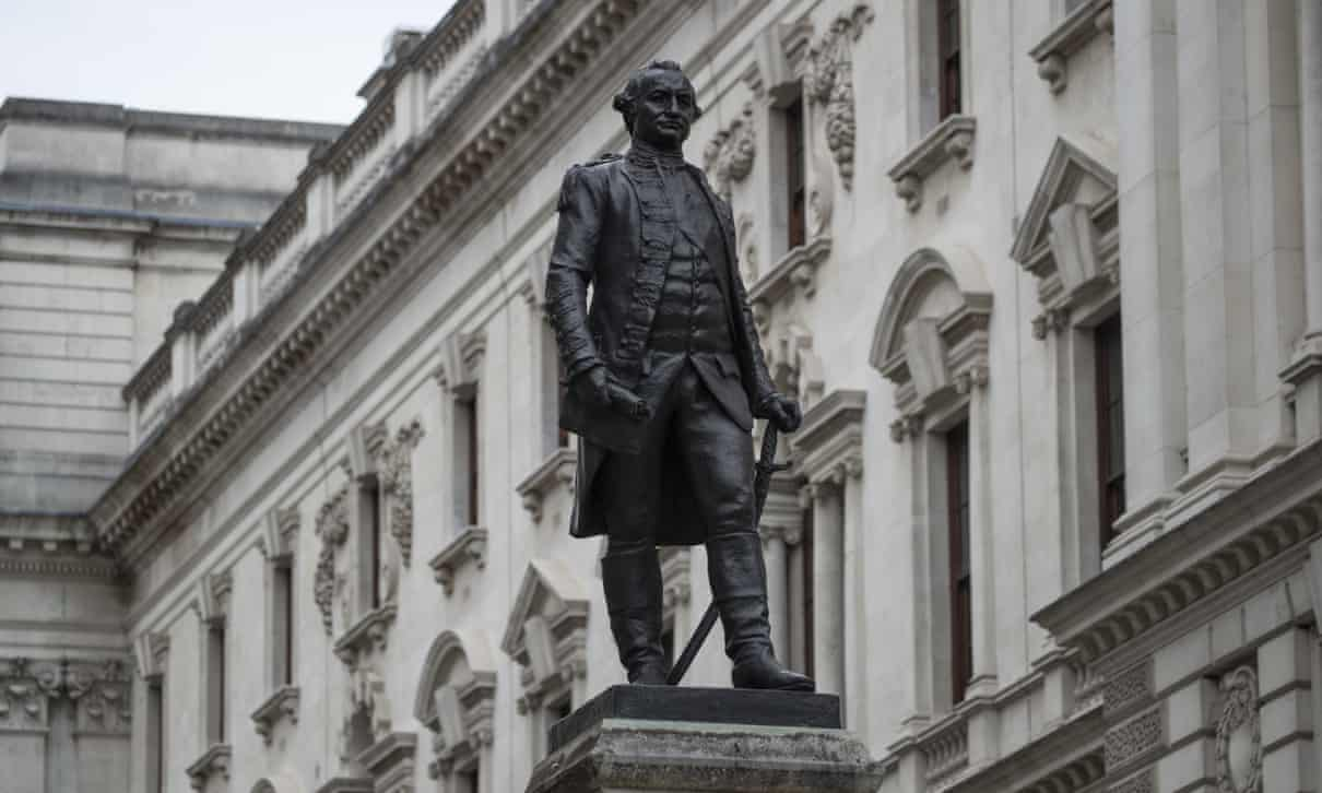 The statue of Robert Clive stands outside the Foreign Office