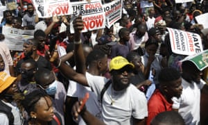A protest against police brutality in Lagos, Nigeria