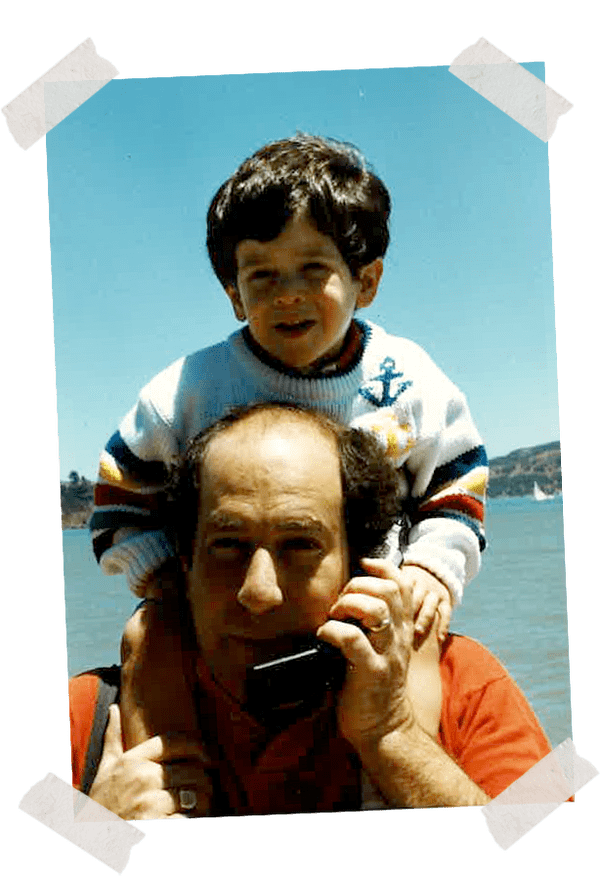 Josh on Dad's shoulders in Ogunquit, Maine, early 1990s.