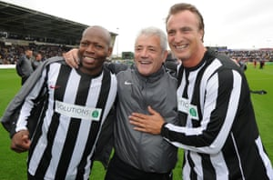 Asprilla, Kevin Keegan and David Ginola are reunited for a charity match against Liverpool in 2011.