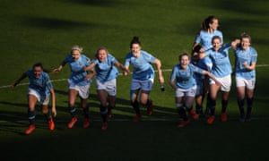 Manchester City Women celebrate victory in the penalty shoot-out