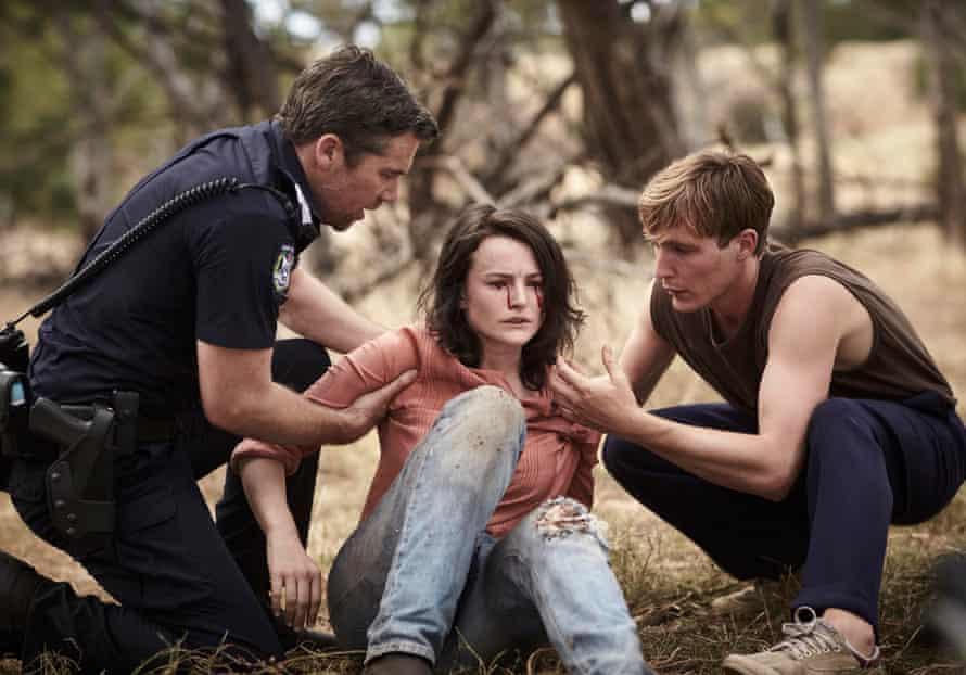 James (Patrick Brammall), Kirsite (Hannah Monson) and Charlie (Sean Keenan) in the second season of Australian zombie drama Glitch.