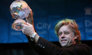 Bob Geldof receiving the Freedom of Dublin City in a ceremony outside Mansion House in Dublin