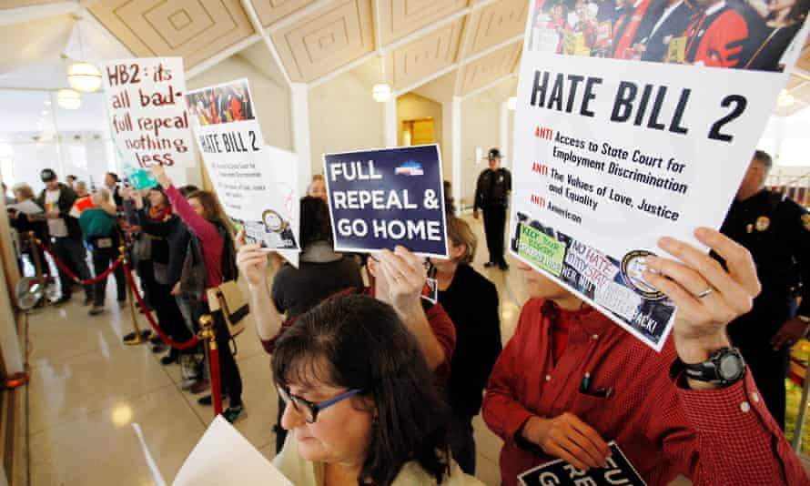 Opponents of North Carolina's HB2 law protest in the gallery above the state's House of Representatives chamber in Raleigh, North Carolina, on Wednesday.