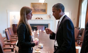 Barack Obama and Samantha Power in the cabinet room of the White House.