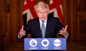 Boris Johnson speaks at a virtual press conference at 10 Downing Street on Monday