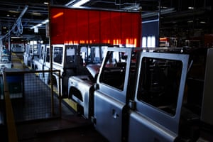 Defender chassis on the production line at Land Rover's Solihull plant