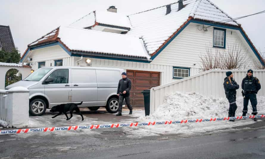 Police carry out a search of the house of former Norwegian justice minister Tor Mikkel Wara in March 2019.
