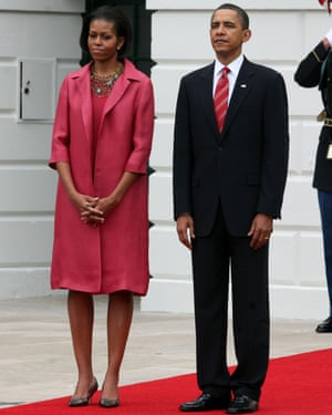 Michelle and Barack Obama welcome President Felipe Calderón of Mexico and his wife Margarita Zavala to the White House, Washington DC, 19 May 2010.