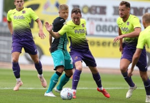 Exeter, in action here in yellow against Swansea, will be expected to challenge.