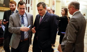 Senator Ted Cruz speaks to journalists after a vote on Capitol Hill on Monday.